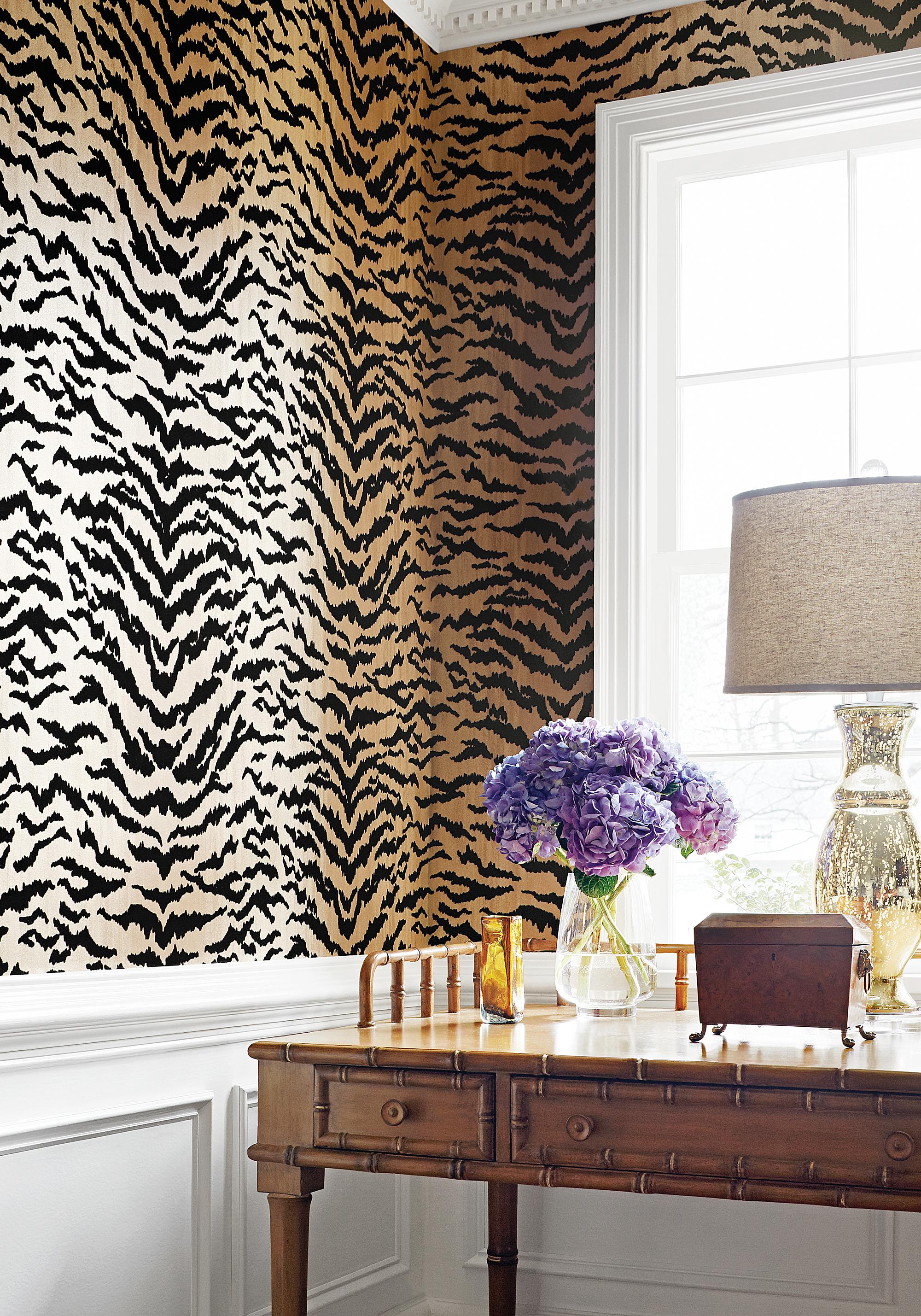thibaut-design-tiger-wallpaper-animal-print-powder-room-washroom ...
